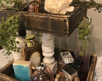 farmhouse decor, farmhouse tray, tiered tray, storage tray, farmhouse storage, kitchen decor, bathroom decor, storage, rustic tray