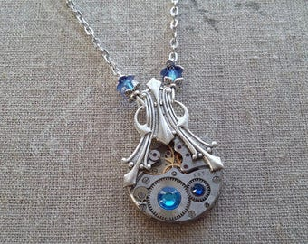 Steampunk with a print pendant necklace