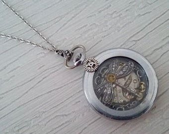 Dragonfly steampunk watch pendant necklace