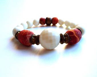 vintage bracelet, red stones and pearls cream color