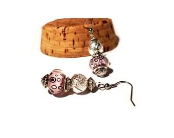 Retro earrings, pink patterns beads black bubbles