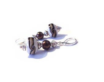 Vintage earrings 925 sterling silver, white murano beads with patterns
