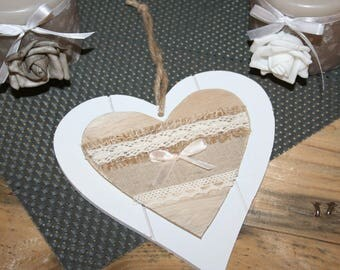 heart hanging Wood taupe and white linen lace