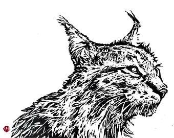 Linogravure originale, linocut,hyène, gravure, illustration, original, animal , tableau, pour sous-verre