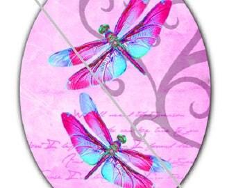 18x25cm, dragonflies, a pink background
