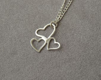 Sterling silver necklace three intertwined hearts