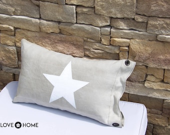 Beige thick canvas Pillow made with an old military bag
