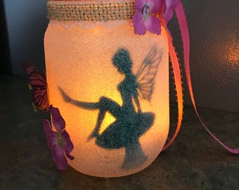 Pink fairy in a jar night light