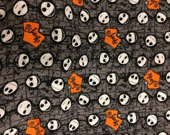 nightmare before christmas fabric, Halloween fabric,jack the skeleton fabric, fabric by the yard, cotton fabric, jack skellington fabric