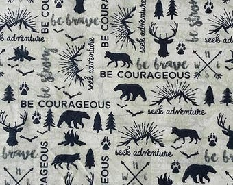 bear fabric, fabric by the yard, cotton flannel by the yard, be brave print, woodland fabric, flannel fabric, mountain fabric by the yard