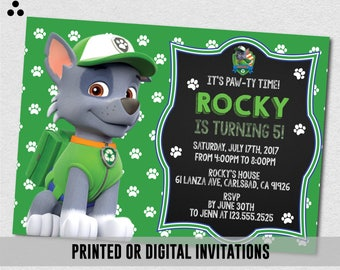 Rocky Paw Patrol Invitation, Rocky Paw Patrol Invite, Paw-ty Invite, Paw Patrol Birthday, Physical Invite, Invitation, Digital, 3DS-003