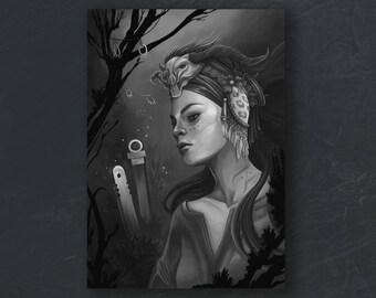 A6 print – maya in black and white.