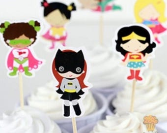 12x Superhero Girls Food Cupcake Cake Topper Pick. Party Supplies Bunting Lolly Loot Bags Favour Batgirl Wonder Woman supergirl