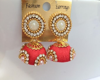 Gunu Red Handmde Silk Thread Earring