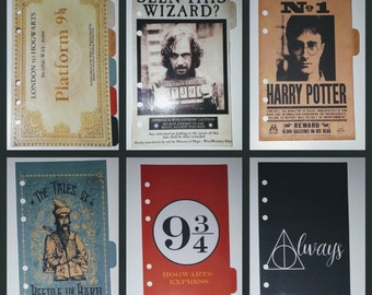 6 Personal Size Planner Dividers | Harry Potter | Hogwarts Express | Sirius Black | Tales of Beedle the Bard | Always | Filofax