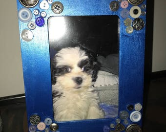 Blue Button 3x 5 Picture Frame