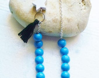 Long Necklace blue beads, Star and tassel