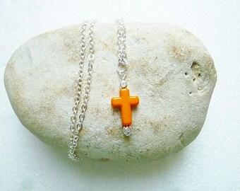 Orange short cross pendant necklace