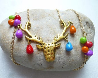Deer and multicolored beads necklace