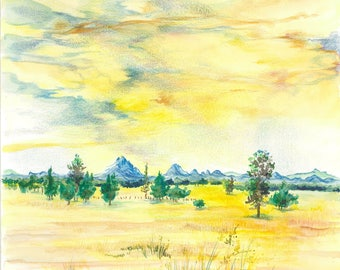 Yellow Coonabarabran Country NSW | Watercolor, Pencil, Ink, Drawing, Wall Art, Yellow, Rural, Outback, Australia, Painting, Sketch