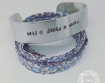 Bangle Bracelet cuff in silver with personalized engraving by Palilo jewelry