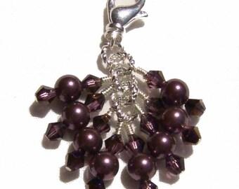 Burgundy Pearl Crystal Beaded Zipper Pull Pendant