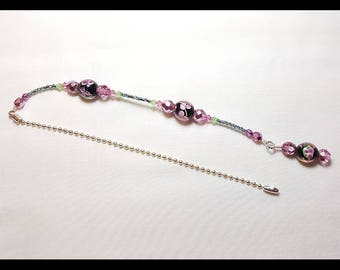 Black and Pink Lampwork Crystal Beaded Fan Pull Silver Chain