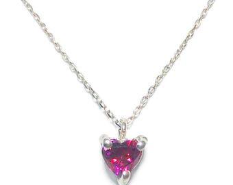 Swarovski Zirconia Heart Cut Simulated Ruby Necklace