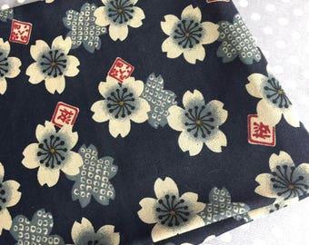 fabric 1 Japanese pattern 140x50cm sakura flower print patchwork bag blue stitching