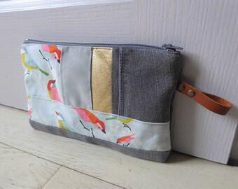 "Bag ""Bird"" 100% handmade made in France creation unique denim, cotton, leather strap"