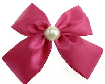 woman satin bow hair clip pink fuchia and cabochon bead