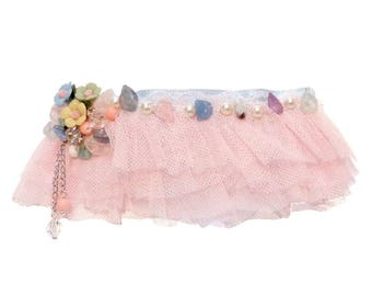Clip hair barrette kawaii style tutu dancer pink blue and multicolor pastels