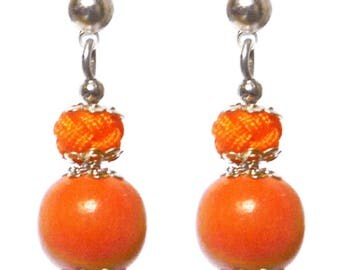 Small stud earring Pearl wood and orange satin cord