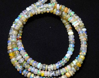 """Natural Ethiopian welo opal smooth beads 4 M.M. 16"""" strand/necklace,mix color opal roundel beads necklace, fire opal beads strand:-AJ15"""