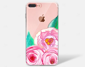 Pretty Peonies Watercolor Flowers Clear Silicone TPU iPhone Case iPhone 6 iPhone 7 iPhone 7 PLUS iPhone 6 PLUS