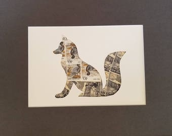 Postage Stamp Collage - Gray Fox