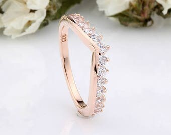 Rose Gold Round CZ Half Eternity Wedding Engagement Sterling Silver Curved Band Ring / Stackable Rose Gold Ring / Ring Guard