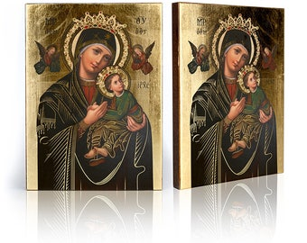Icon Our Lady of Perpetual Help - handmade religious wood icon, gilded, beautiful gift, 4 sizes to choose.