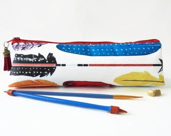 Art gifts, Feathers and arrows print, pencil pouch, brush bag, cosmetic pouch.