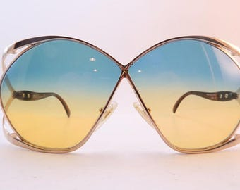 Christian Dior France Butterfly Oversized vintage sunglasses, 70s sunglasses. Bi-color lenses