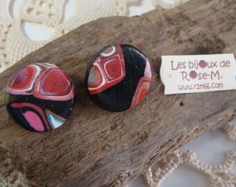 """Pink clip on earrings """"Klimt style"""""""