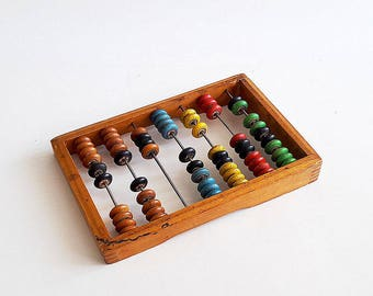 Small kids multicolor abacus toy, Childrens colorful wooden calculator vintage scores