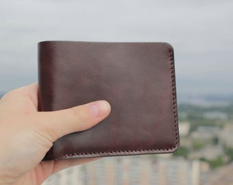 Bifold Leather Men's Wallet with Cash Pocket and 4 Card Holder Slots - Lacquered Brown