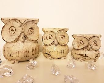 Handmade Wooden Owl Family