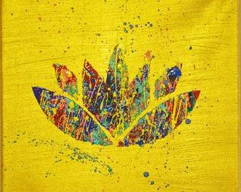 Original Lotus painting, lotus flower, lotus symbol yoga meditation art, yoga studio decor, modern spiritual art, acrylic painting on canvas