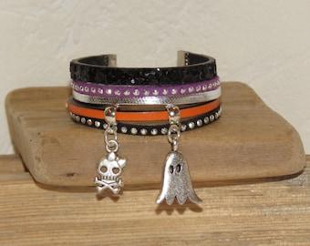 Halloween Cuff Bracelet, orange, black, silver, for girl, leather, glitter, studded Suede, skull, Ghost