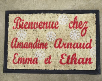 "Doormat personalized ""Welcome!"" with names of family members and stars, gray, pink color"