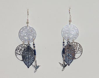 Tree of life, leaves, birds, blue earrings Navy earrings, silver, earrings beads miyuki delica 11/0