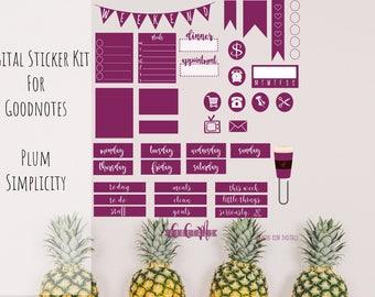 Digital Planner Mini Sticker Kit for Goodnotes | Simple Plum Sticker Set | iPad Digital Journal Weekly Sticker Set | Digital Journal Sticker