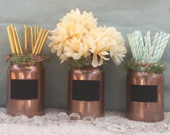 Trio mason jar organizers with chalkboard accent, most popular, dorm, desk, rose gold